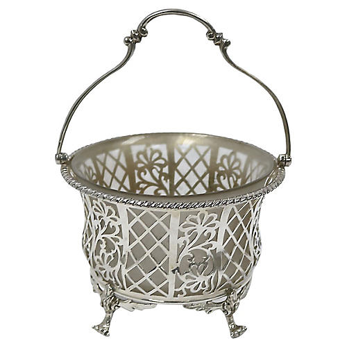 English Sterling Bon Bon Basket, 1926