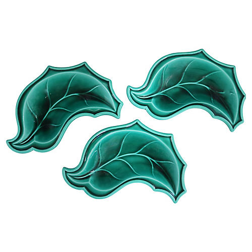 French Majolica Leaf Dishes, S/3