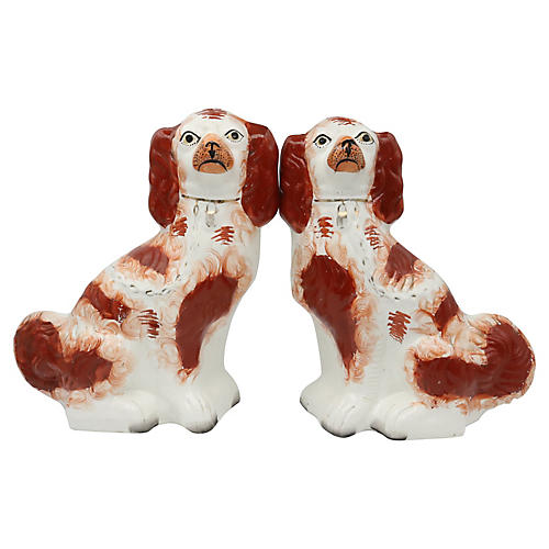 Antique Staffordshire Spaniels, Pair