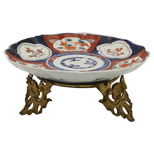 Antique Japanese Porcelain & Brass Dish