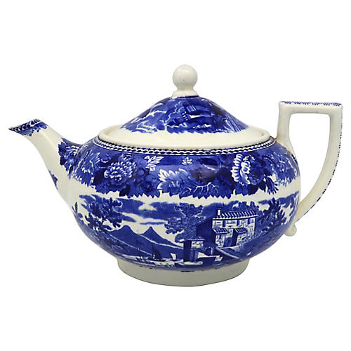 Wedgwood Blue & White Landscape Teapot