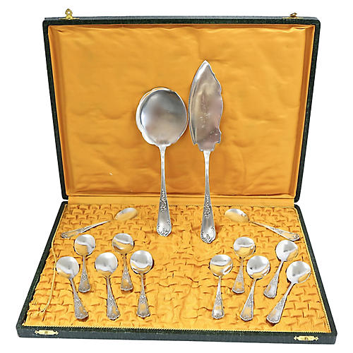 Antique French Dessert Set, Svc. for 12