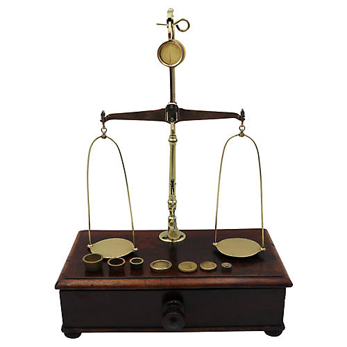 Antique English Brass Jewelry Scale