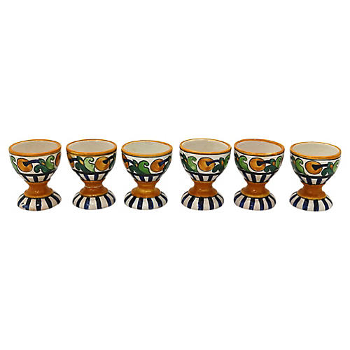 1920s Art Deco Quimper Egg Cups, S/6