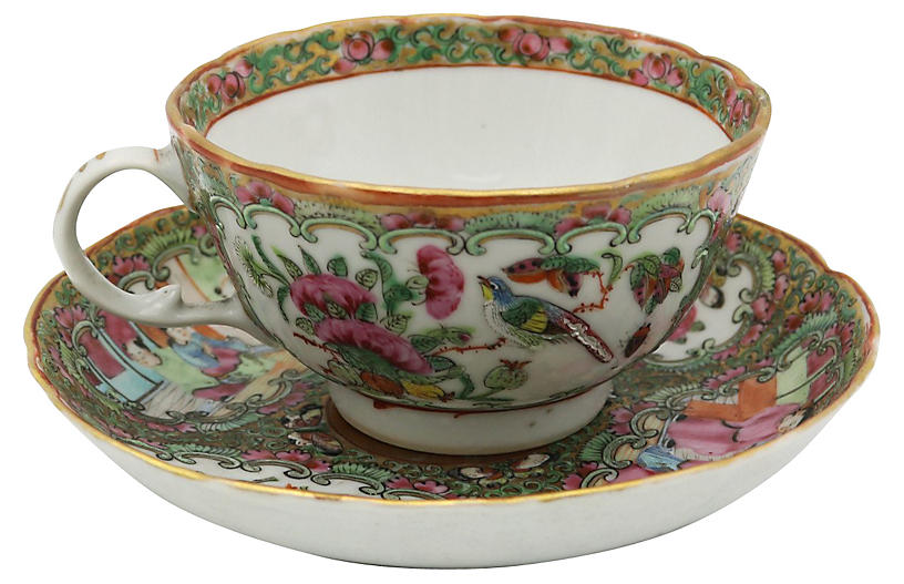 Chinese Famille Rose Cup & Saucer