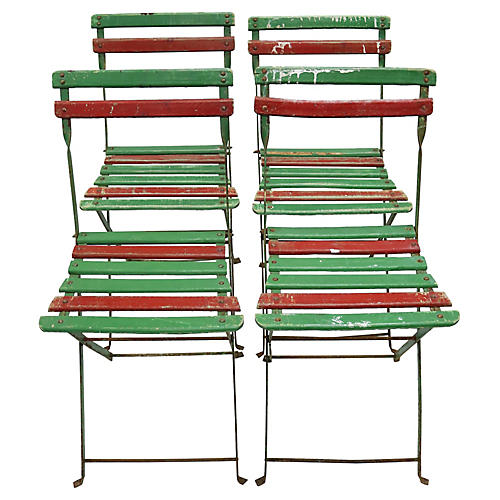 Mid-Century French Bistro Chairs, S/4