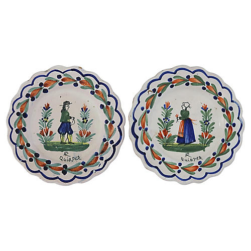 Antique French Quimper Plates, Pair
