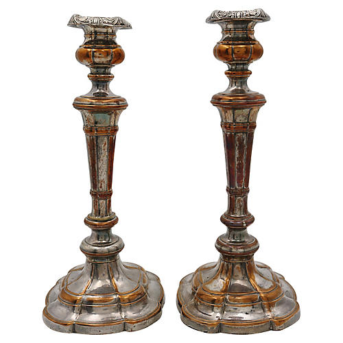Antique Sheffield Candlesticks, Pair