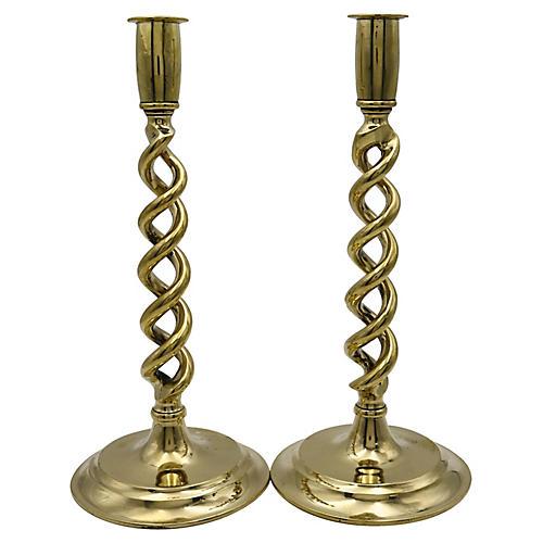 Brass Open Twist Candlesticks, pair