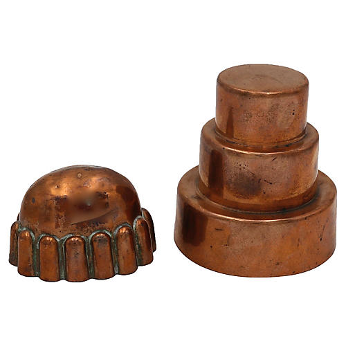 Antique English Mini Copper Molds, S/2