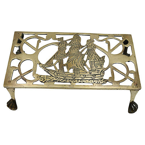 Antique English Brass Ship Trivet