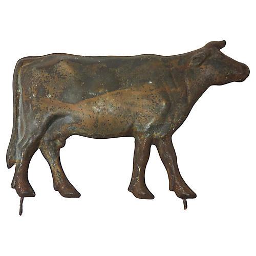 Small Antique Steel Weathervane Cow