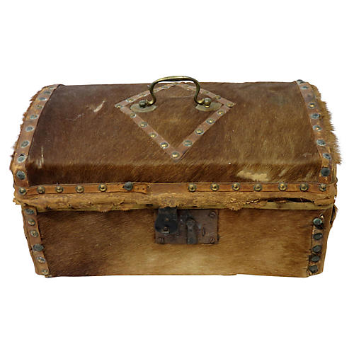 1820s Antique Deerskin Document Box