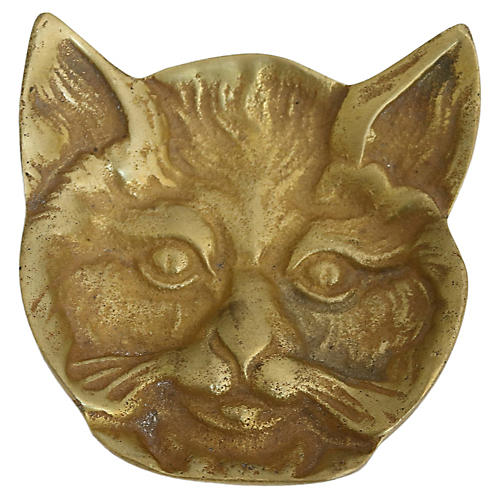 Midcentury French Brass Cat Dish