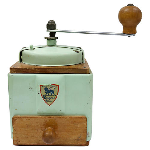 French Mid-Century Mint Coffee Grinder
