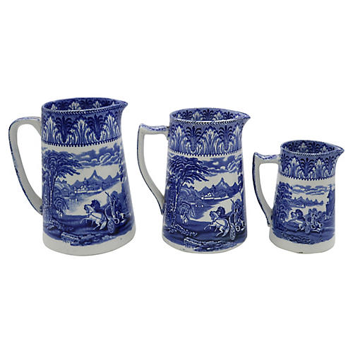 English Flow Blue Chariot Jugs, S/3