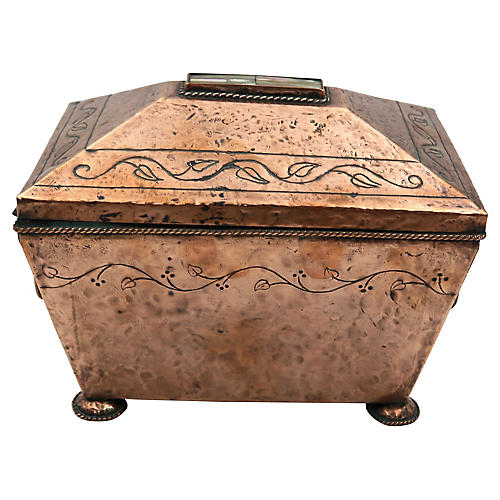 Arts & Crafts Copper Tea Caddy w/Pearl