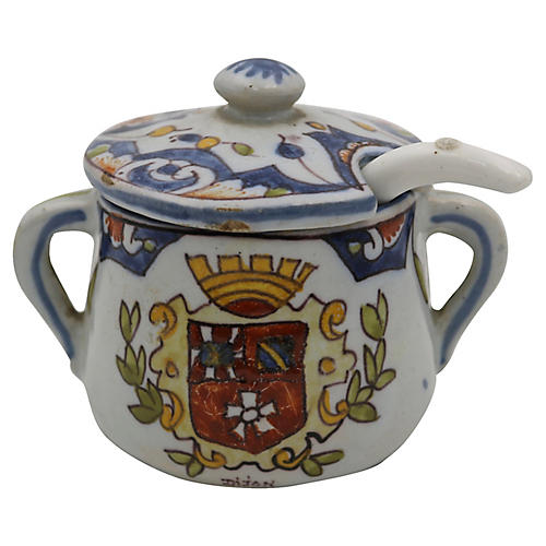 French Faience Mustard Pot & Spoon, 2 Pc