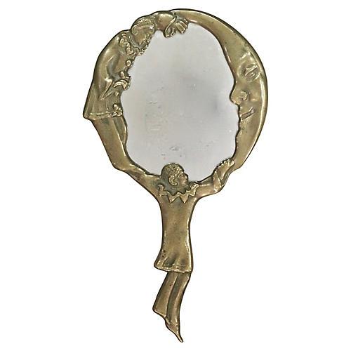 French Art Nouveau Pierrot & Moon Mirror