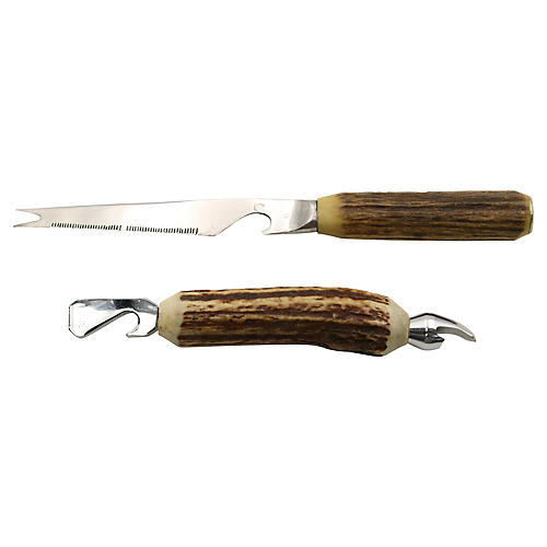 English Horn Handled Bar Tools, 2 Pcs