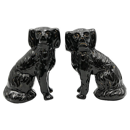 Antique Staffordshire Black Dogs, Pair