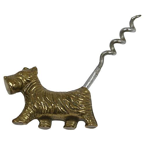 Art Deco Brass Scottie Dog Corkscrew