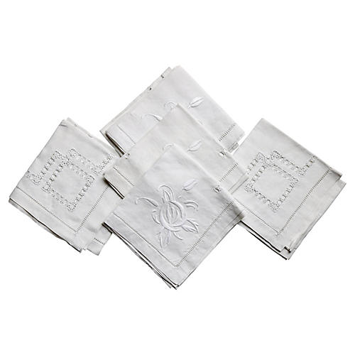 Antique French Cocktail Napkins, S/8