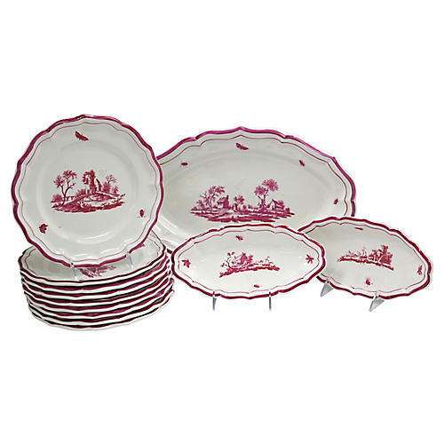 French Gien Serving Set, 12 Pcs