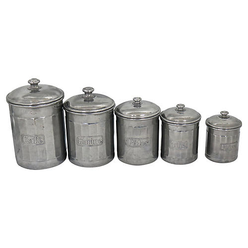 Mid-Century French Canisters, 5 Pcs