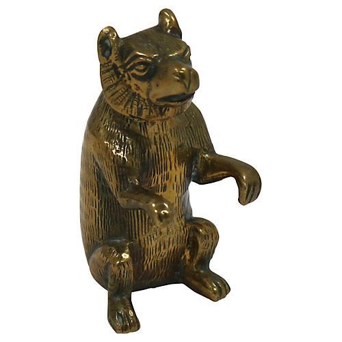 Antique Brass Sitting Bear Pen Holder