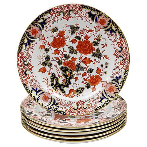 Antique English Derby Dinner Plates, S/6