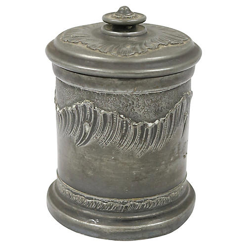 Antique French Pewter Tobacco Jar
