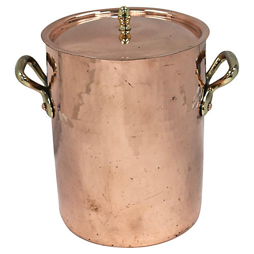 French Hammered Heavy Copper Stock Pot