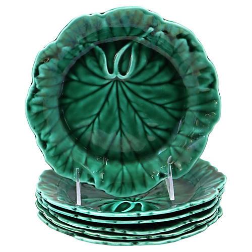 Wedgwood Green Majolica Leaf Plates, S/6