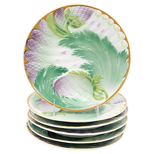 French Asparagus & Artichoke Plates, S/6