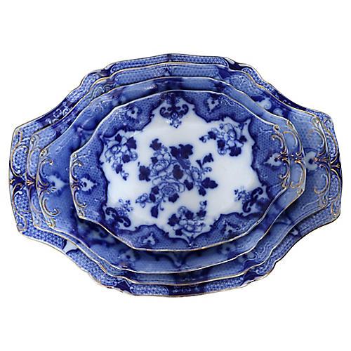 Antique English Flow Blue Platters, S/4