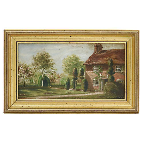 Antique Oil Painting of English Home