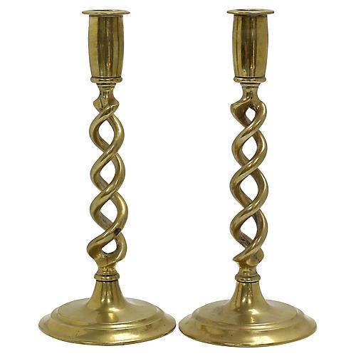 Antique English Brass Twist Candlesticks