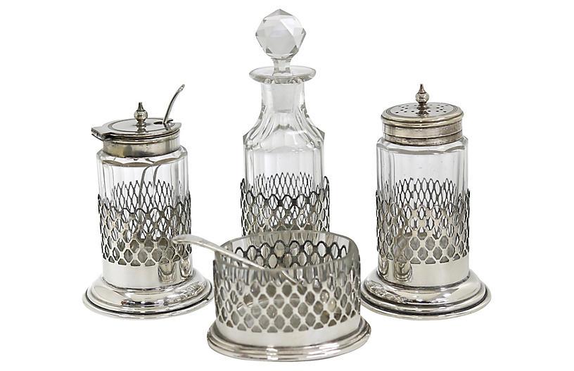 English Silver-Plate Cruet Set, 6 Pc
