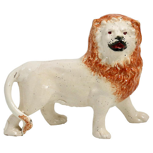 Antique English Staffordshire Lion