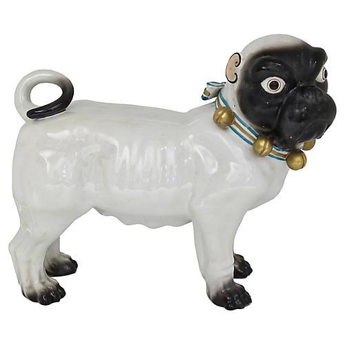 Large Antique Dresden Porcelain Pug