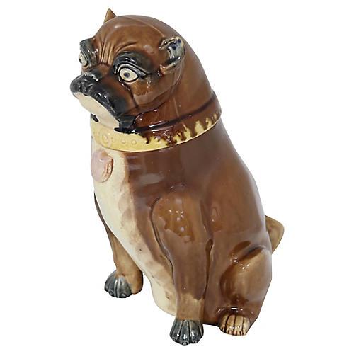 Antique English Majolica Pug Tobacco Jar