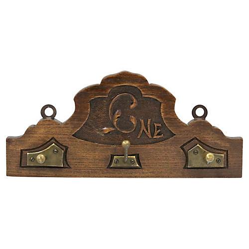 Antique English Carved Coat Rack