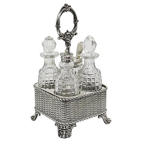 Fancy English Silver-Plate Cruet Set