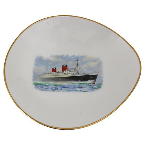 Queen Elizabeth Steamship Souvenir Dish