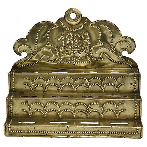 Antique English Brass Spoon Rack
