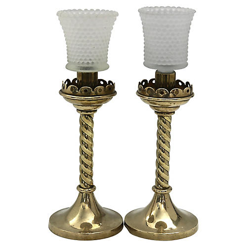 Antique Crown Candleholders/Votives, Pr.