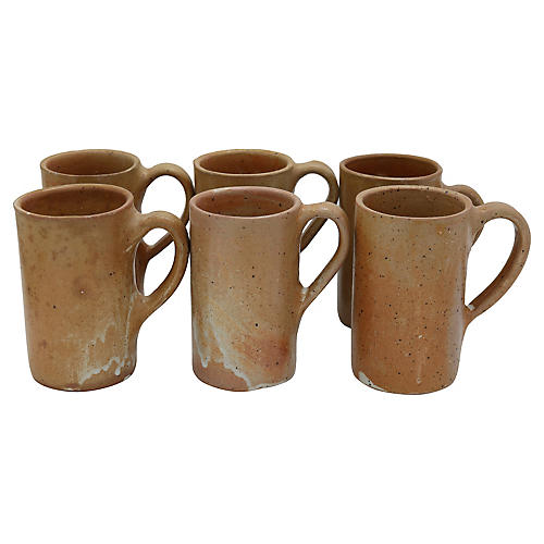 Mid-Century French Stoneware Mugs, 6 pcs