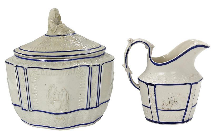 1820s English Castleford Cream & Sugar