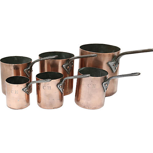 Antique Copper Hotel Cookware, S/6